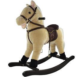 Kůň houpací béžový plyš výška 71cm nosnost 50kg vkrabici