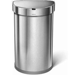 Simplehuman -45 l,půlkulatý, matná ocel, FPP, kapsa nasáčky