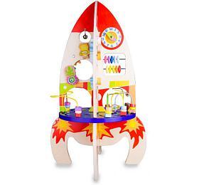 Hrací stůl dřevo edukační raketa vkrabici 32x45x20cm