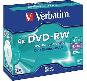 VERBATIM DVD-RW 4,7GB/ 4x/ DLP/ Jewel/ 5pack