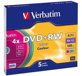 VERBATIM DVD+RW 4,7GB/ 4x/ COLOR slim/ 5pack