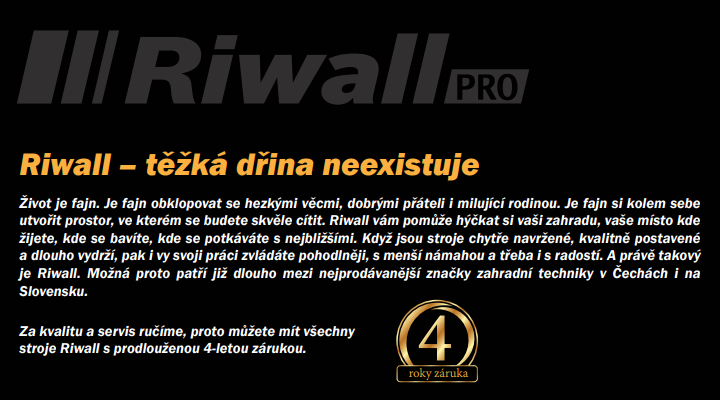 Riwall záruka 4 roky