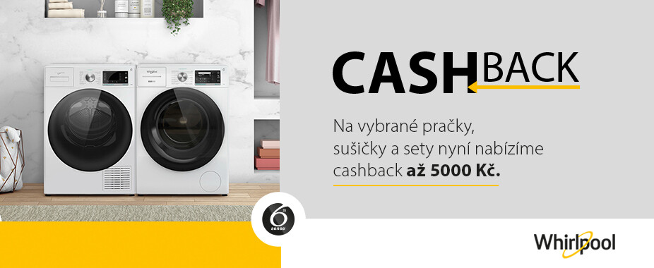 Cashback až 1 000 Kč na vybrané pračky Whirlpool