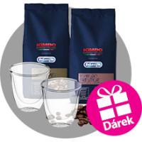 Dárkové balení exkluzivních káv Kimbo + set skleniček na espresso De'Longhi